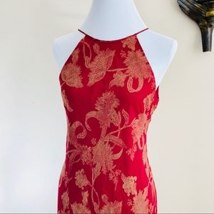 ANN TAYLOR VTG Floral Halter Chiffon Maxi Dress 10